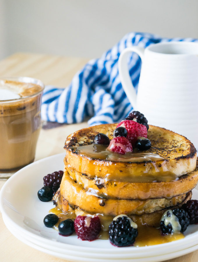 Eggnog French Toast with Bourbon Sauce