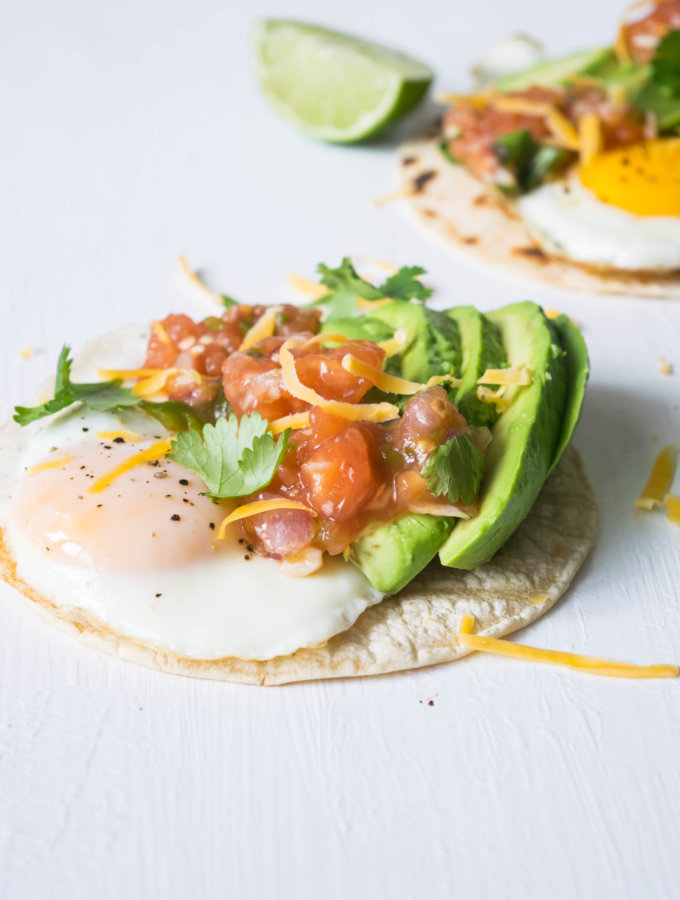 Easy, quick healthy breakfast tacos recipe with a smoky, spicy charred tomato salsa that packs a punch when it comes to flavor! | thelastcookie.ca