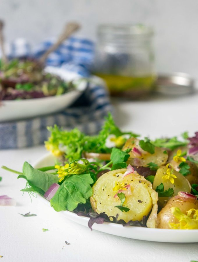 Make the most of fresh spring harvest with this light, healthy Spring Warm Potato Salad. This 30 minute Vegan and Gluten Free recipe is incredibly delicious and beautiful to look at!