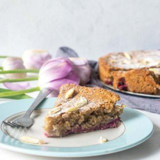 This Rhubarb Almond Gluten Free Cake is light, incredibly moist and easy to whip up. A simple but incredibly delicious celebration cake for spring and summer! | thelastcookie.ca