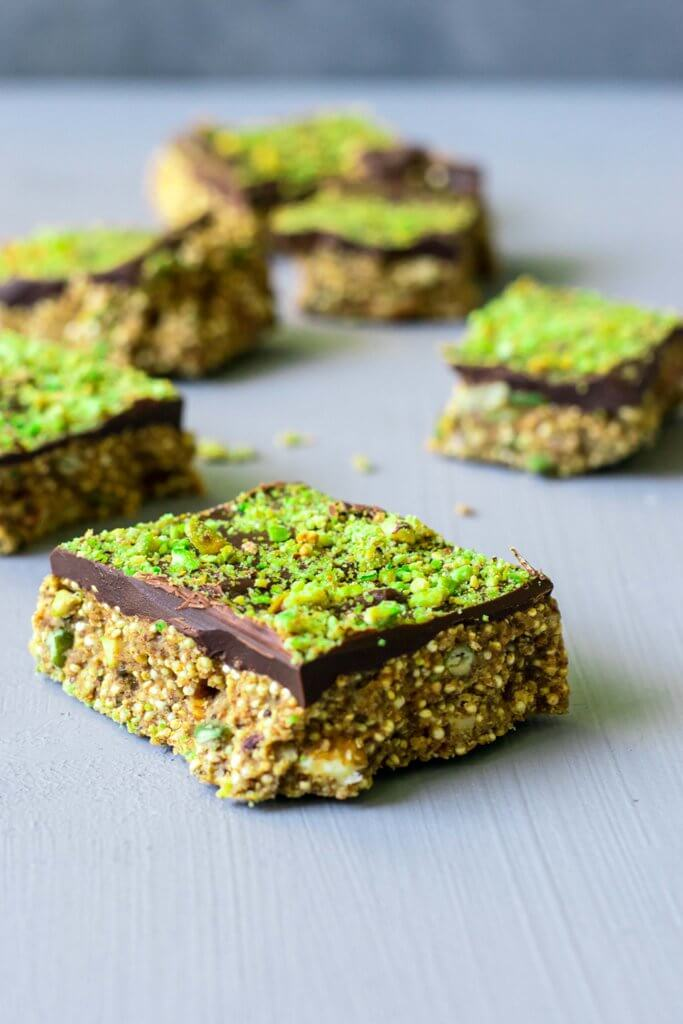These Chocolate Puffed Quinoa Bars are rich in protein and healthy fats.  They're easy to make and a delicious, wholesome snack!