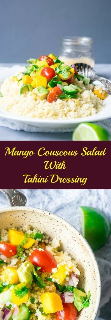 This incredible couscous salad is light and refreshing with sweet mangoes, cucumbers, summer vegetables and a spicy tahini dressing. A delicious blend of flavors for summers! | thelastcookie.ca
