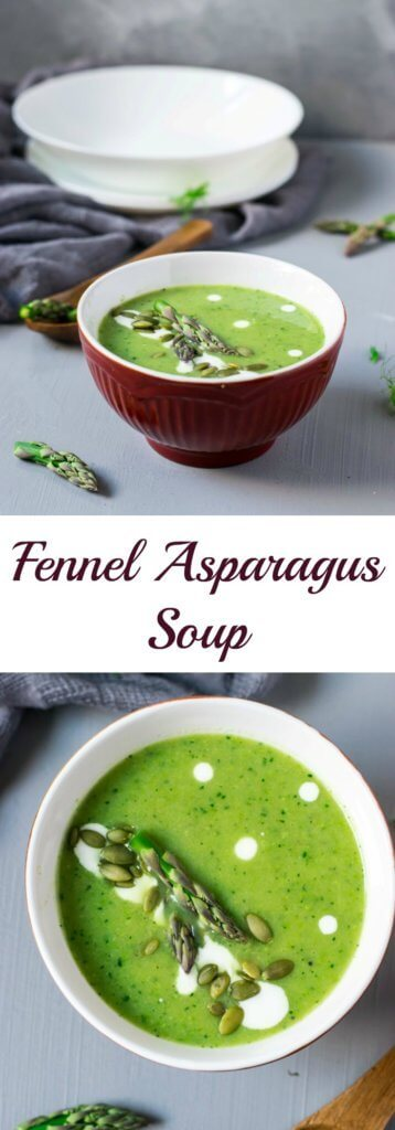 This healthy asparagus soup has a fresh, refreshing flavor from fennel that is perfect for summer. It is light, creamy and ready in under 30 minutes! | thelastcookie.ca